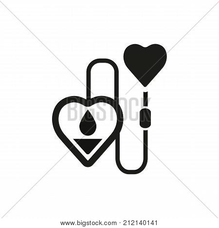Transfusion of blood vector icon. Donorship, medicine, assistance. Volunteering concept. Can be used for topics like charity, helping, donation.