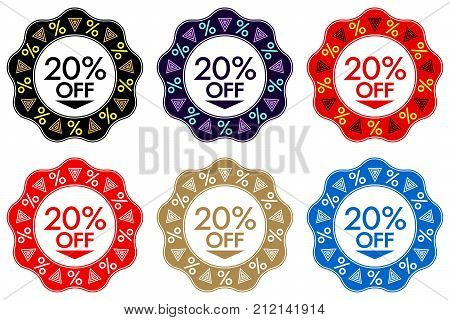20 Off Discount Sticker. Set Of Banner Design With 20 Off
