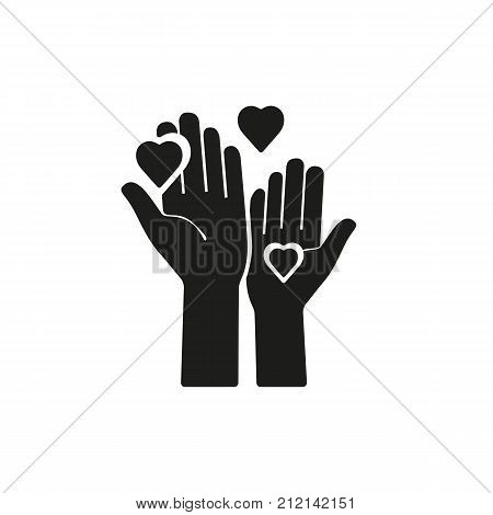 Icon of two hands and hearts. Philanthropy, aid, work. Volunteering concept. Can be used for topics like charity, helping, donation.