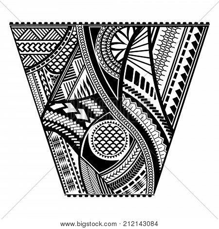 Polynesian tattoo style sleeve vector design. Trapeze shape mayan body art black stencil template.