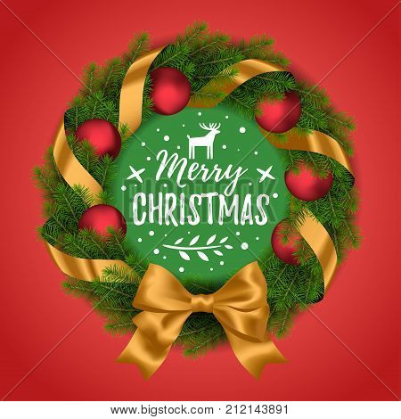 Vector realistic holiday Christmas and New Year wreath with Christmas balls and bow on red background.