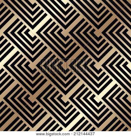 Golden Seamless Pattern In Art Deco Style. Template For Design. Vector Illustration Eps10