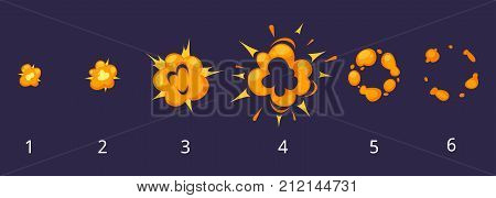 Vector cartoon style set of game fire with smoke explode effect burst sprites for animation. Game user interface (GUI) element for video games, computer or web design. Explosion frames. poster