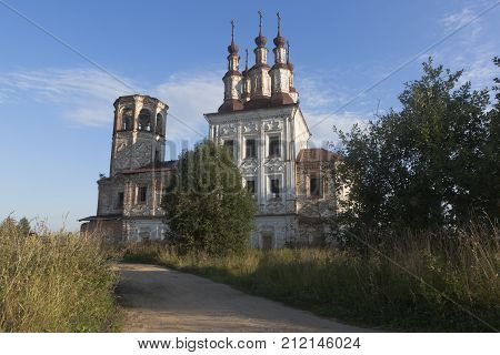 Destroyed Church Christ Resurrection in village Varnitsy, Totemsky district, Vologda region, Russia
