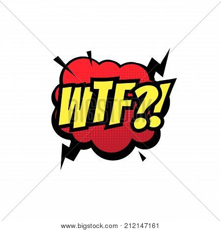 Wtf Comic Text Bubble Vector Isolated Color Icon