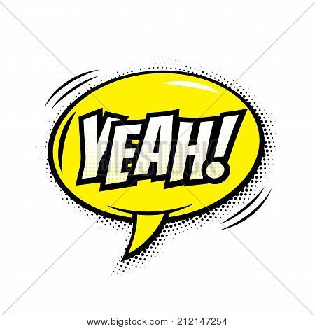 Yeah Comic Text Bubble Vector Isolated Color Icon