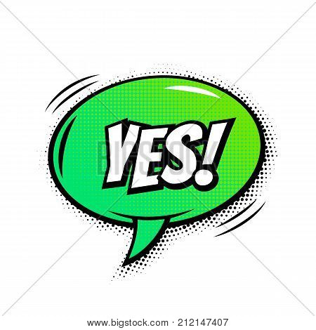 Yes Comic Text Bubble Vector Isolated Color Icon