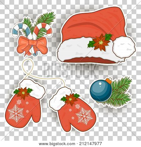 Colorful patch badges various attributes of Christmas. Set of happy new year stickers pins magnets cartoon comic style. Santa Claus mittens caps. Stock vector