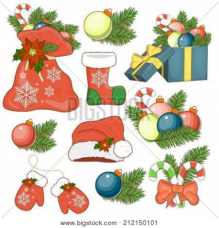 The icon of the Nativity sticker set with gift box Christmas tree candy Holly berry bauble Santa hat poinsettia flower shore. Stock vector.