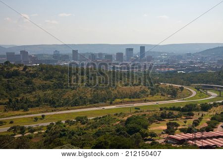 View of downtown Pretoria with a memorial to the pioneers of South Africa. Pretoria from the observation deck of the