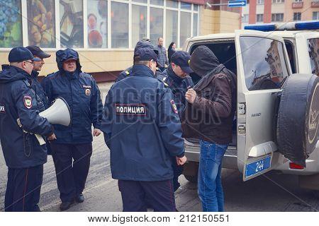 Norilsk, Russia - June 12, 2017 The police arrested the offender