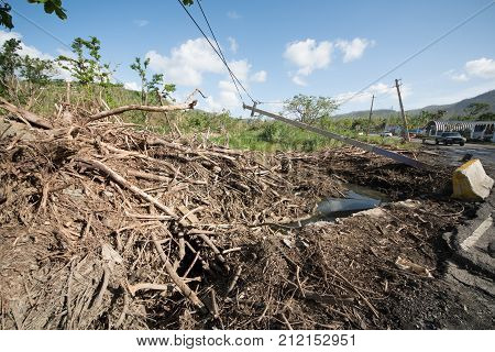 Roadside scene in Puerto Rico after Hurricane Marie showing damage to power lines