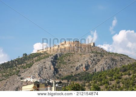 Ruins of the fortress Argos on the hill Larissa. Peloponnese. Greece