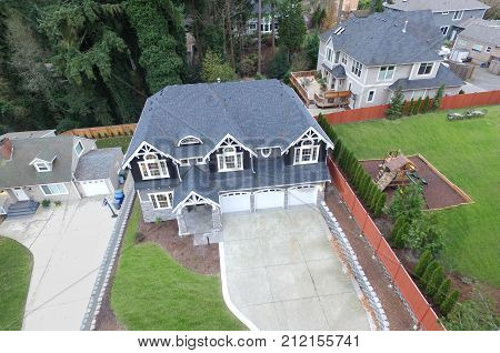 Aerial View Of Luxurious Grey Home