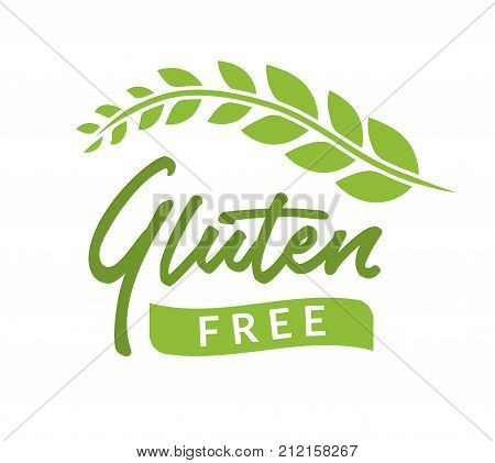 Gluten free isolated drawn sign icon. Healthy lettering symbol of gluten free phrase.
