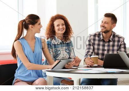 Young professionals conducting business meeting in office