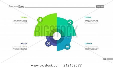 Pie chart with four elements. Comparison diagram, graph, layout. Creative concept for infographics, presentation, project, report. Can be used for topics like marketing, analysis, statistics