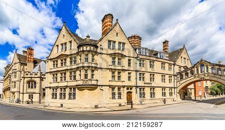 Hertford college with it's bridge known as the Bridge of Sighs, is a skyway joining two parts of Hertford College, Oxford, England, UK