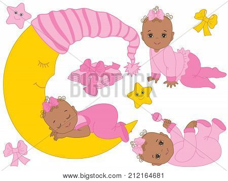 Vector set with cute African American baby girls, moon, bows, stars and diapers. Vector baby girl shower. Vector baby girl. African American baby girls vector illustration