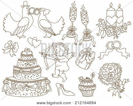 Vector wedding doodle set with amour, cake, flowers, candles, cupcakes, rings, bows and doves. Wedding doodle vector illustration