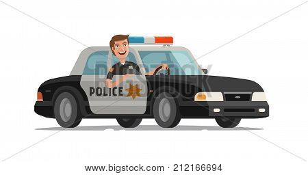 Happy policeman goes on police car with flashing lights. Cartoon vector illustration isolated on white background