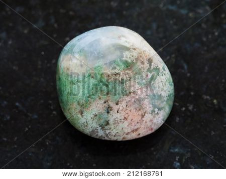 Polished Moss Agate Gemstone On Dark