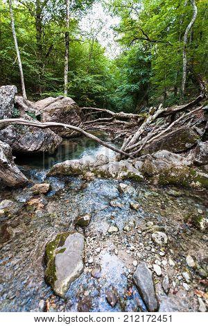 Ulu-uzen River In Haphal Gorge In Crimea