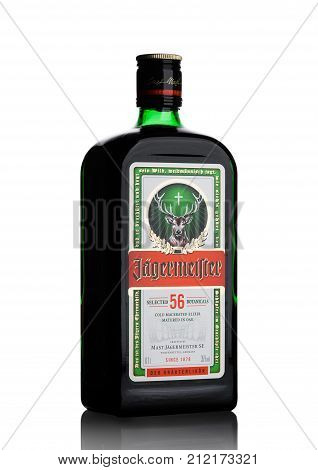 London, Uk - November 03, 2017: Bottle Of Jagermeister On White. German Digestif Made With 56 Herbs