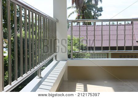 hand rail at site balcony modern house