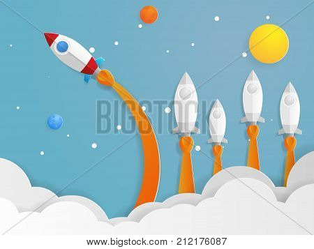 illustration of think different concept red rocket flying new direction from other rocket vector paper art business concept