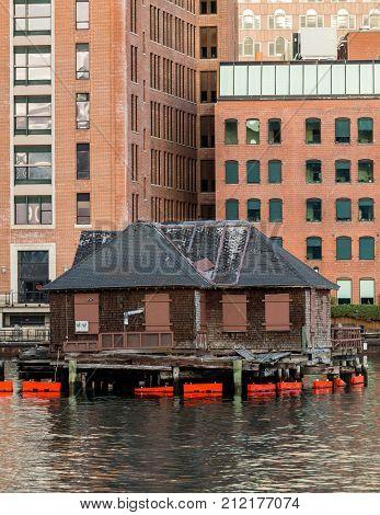 Old Shack In Boston Harbor