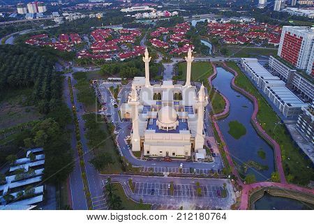 Aerial View Of Majestic Mosque At Shah Alam.