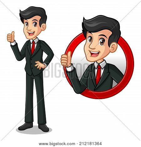 Set of businessman in black suit cartoon character design, inside the circle logo concept with showing like, ok, good job, satisfied sign gesture with his thumbs up, isolated against white background.
