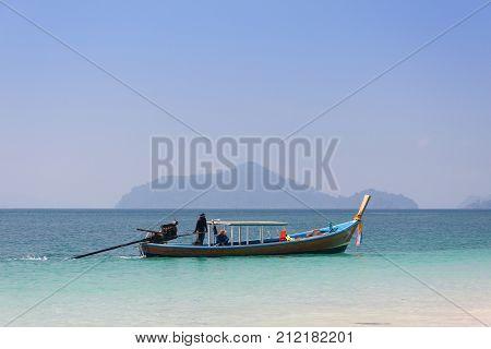 Traditional thai longtail boat at Andaman sea