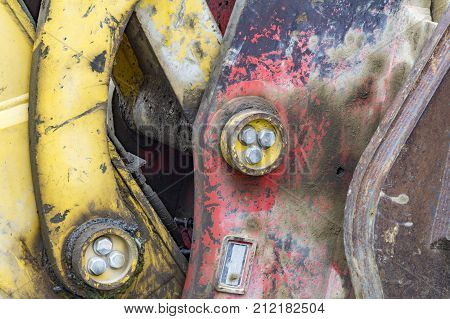 picture showing a detail of a rundown construction machine