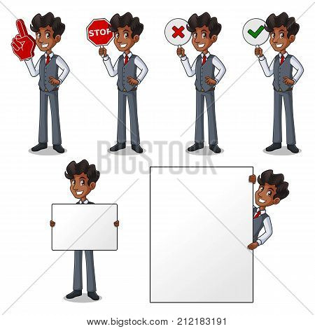 Set of businessman in vest cartoon character design holding a blank empty sign board banner billboard card poster, number one big foam hand finger, stop, right correct yes and wrong no signs.
