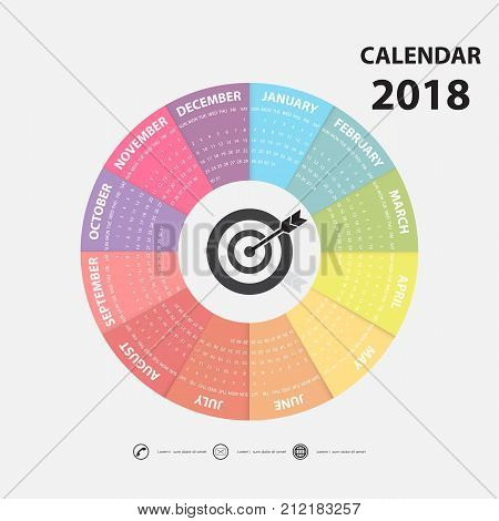2018 Calendar Template.Calendar for 2018 year.Calendar Starts from Sunday.Vector design stationery template.Flat style color vector illustration.Yearly calendar template.Calendar 2018 Set of 12 Months.