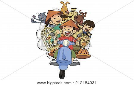 Isolated illustration of people riding mopeds and motorbikes in color. The whole Vietnamese family is on one moped.