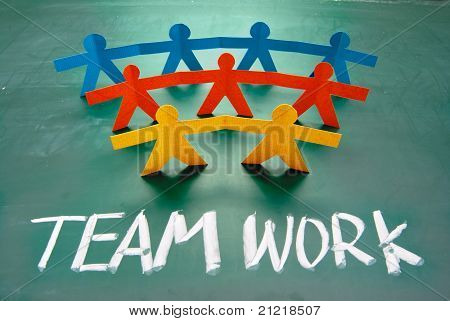 Teamwork Words And Colorful Paper Dolls