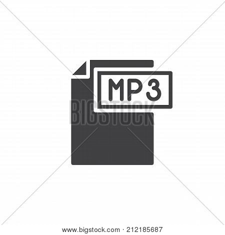 Mp3 format document icon vector, filled flat sign, solid pictogram isolated on white. File formats symbol, logo illustration.