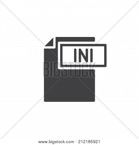 Ini format document icon vector, filled flat sign, solid pictogram isolated on white. File formats symbol, logo illustration.