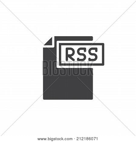 Rss format document icon vector, filled flat sign, solid pictogram isolated on white. File formats symbol, logo illustration.