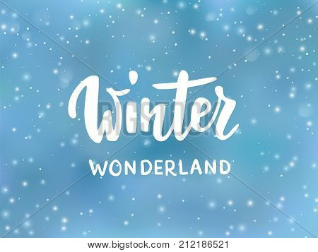 Winter wonderland vector photo free trial bigstock winter wonderland text hand drawn brush lettering holiday greetings quote blue background with m4hsunfo