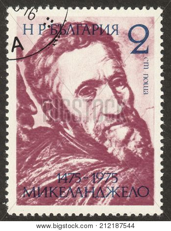 MOSCOW RUSSIA - CIRCA OCTOBER 2017: a stamp printed in BULGARIA shows a self-portrait of Michelangelo Buonarroti the series