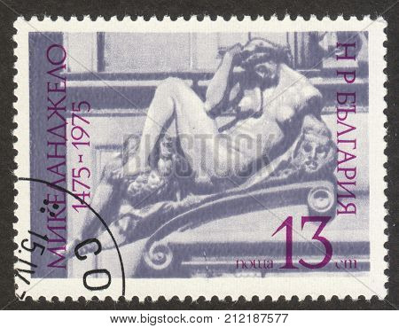 MOSCOW RUSSIA - CIRCA OCTOBER 2017: a stamp printed in BULGARIA shows the sculpture by Michelangelo Buonarroti the series
