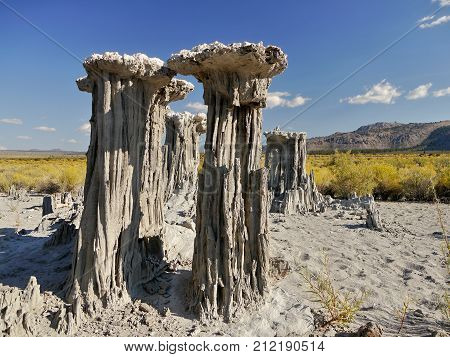 Mono Lake, California. Abstract Tufa Rock Tower In Dry Lake.