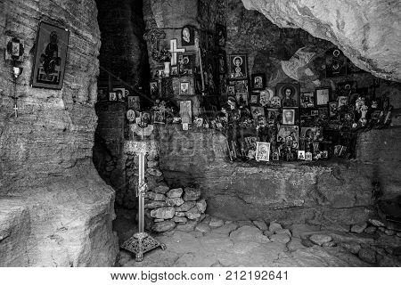 MADARA BULGARIA - AUGUST 23 2017: Saint Pantaleon Rock Chapel XII-XIV century. Black and white.