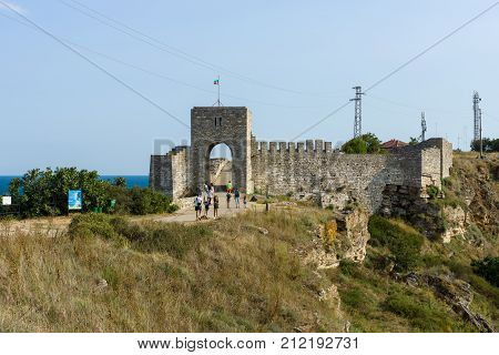 CAPE KALIAKRA BULGARIA - AUGUST 23 2017: The medieval fortress of Kaliakra. The preserved part of the fortress wall and the watchtower.
