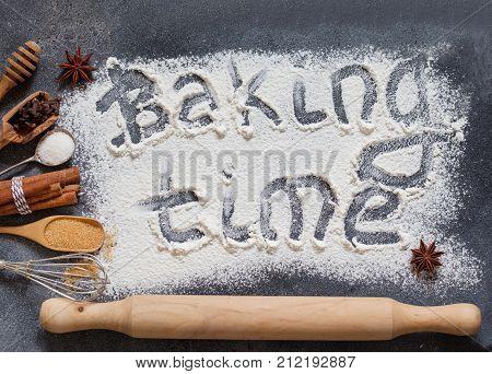 Baking Ingredients Flour, Butter, Sugar, Salt, Eggs