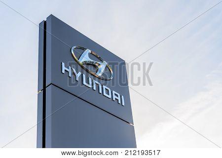 Northampton, UK - Oct 25, 2017: Day view of Hyundai logo at Riverside Retail Park.